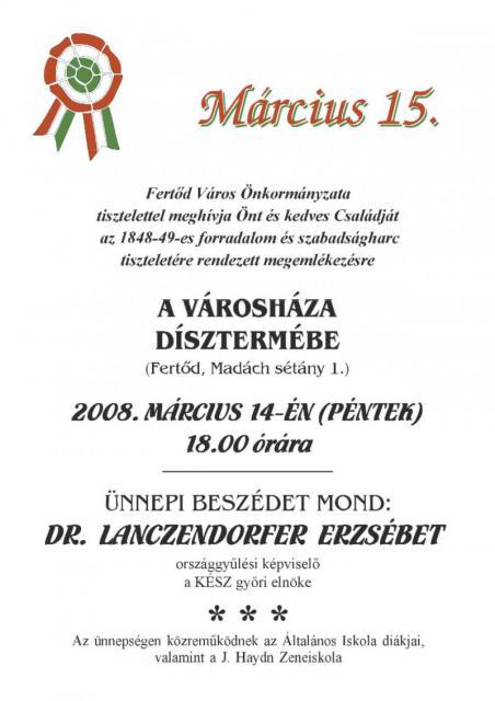 1848-49-es forradalom és szabadságharc megemlékezés 2008